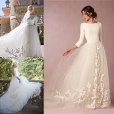 online get cheap three quarter length wedding dresses with sleeves