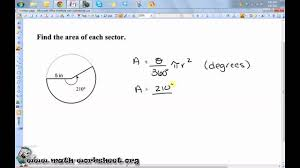 Area Of Sector Worksheet Geometry Circles Arc Length And Sector Area Medium