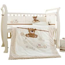 Beige Crib Bedding Set 7pcs Cotton Baby Cot Bedding Set Newborn Crib