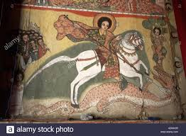 old wall painting murals showing st george slaying the dragon in old wall painting murals showing st george slaying the dragon in kebran gabriel orthodox christian