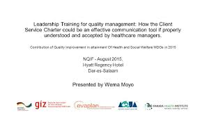 leadership training for quality management how the client service