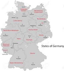 Bavaria Germany Map by Gray Germany Map With Regions And Main Cities Royalty Free