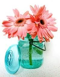 Ball Jar Centerpieces by Tiffany Blue And Red Wedding Bride Mason Jars Gerber Daisy Www