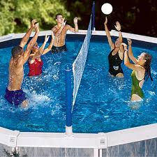 swimline jammin u0027 above ground cross pool volley set