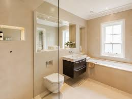 Small Wall Hung Sink Bathroom Alcove Tub Beige Tile Integrated Sink Luxe Luxury Modern