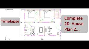 complete 2d house plan 2 timelapse autocad 2d design on cad