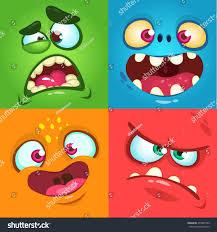 Halloween Monster by Cartoon Monster Faces Set Vector Set Stock Vector 497881783