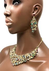 earrings with statement necklace images Vitrail cubic crystals bib statement necklace earrings set drag JPG