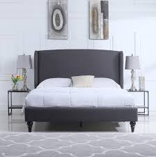 oslo linen bed with upholstered headboard grey sofamania com