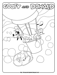 mickey mouse coloring pages goofy donald air balloon abcs