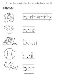 trace the words that begin with the letter b coloring page