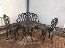 garden black cast iron effect table chairs u0026 bench in inverness