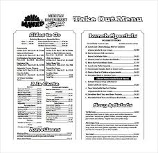 free printable restaurant menu template free restaurant menu