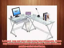 Techni Mobili L Shaped Glass Computer Desk With Chrome Frame Techni Mobili L Shaped Glass Computer Desk Clear