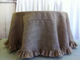 custom made 108 inches round burlap tablecloth with ruffle on