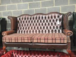 Tartan Chesterfield Sofa Brown Leather Wing Back Chesterfield Sofa Tartan Cushions Can