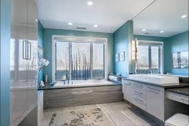 architecture contemporary bathroom design with large windows for