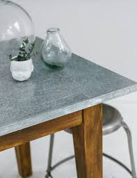 zinc topped table at rose and grey