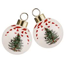 2014 spode christmas tree peppermint bauble ornaments pair