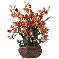 Artificial Floral Arrangements 36 In H Burgundy Large Cymbidium Silk Flower Arrangement 1199 Bg