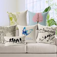 French Country Cushions Fabric For Sofa Printed Butterfly And Bird Cushion Cover Linen