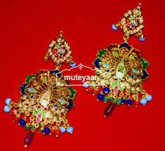 punjabi jhumka earrings peacock design jadau punjabi traditional jewellery earrings jhumka