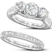 engraving on engagement ring diamonesk personalized bridal ring set engagement ring and weddings