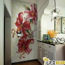 glass mosaic mural flower entranceway tile background wall lily