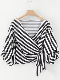 black and white blouse ruched sleeve self tie surplice striped blouse shein sheinside