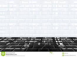 glossy white ceramic brick tile wall and black tile floor stock