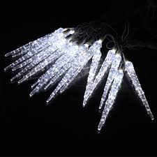 metre led icicle drops in white 25 frozen