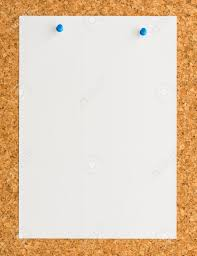 blank paper to write on up blank white paper note sheet with blue push pin on cork