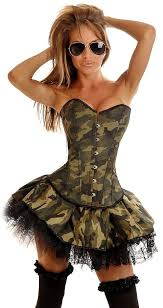 Army Halloween Costumes Girls Details Gothic Camouflage Corset Clubwear Bustier Skirt