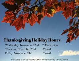 thanksgiving hours for the library lamar soutter library