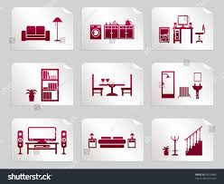 red home interior design icons on stock vector 95623885 shutterstock