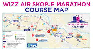 Marathon Route Map by Course Map Wizz Air Skopje Marathon Wizz Air Skopje Marathon