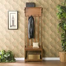 furniture skinny varnished oak wood hall way bench combined