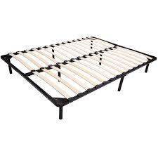 homcom queen size mattress wood slat platform bed frame walmart com