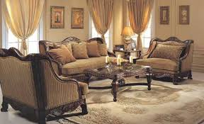 graceful victorian style sofas in red colors with ornate and