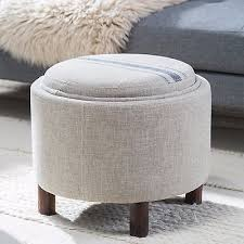 round storage ottoman tray living room furniture foot stool seat