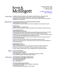 Resume Header Example by Resume U2013 Kevin Mcelligott Gra617