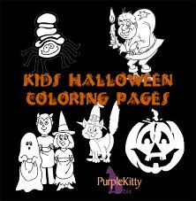 halloween coloring pages purple kitty