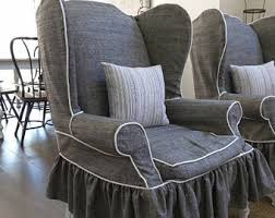 Grey Slipcover Chair Parsons Chair Cover Etsy