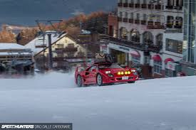 subaru drift snow fun in the snow with a ferrari f40 speedhunters
