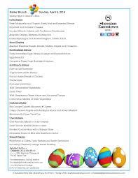 Easter Brunch Buffet Menu by Sheraton Eatontown Hotel Easter Brunch Menu 2015 Sheraton