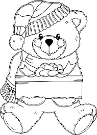 clipart christmas bear coloring page