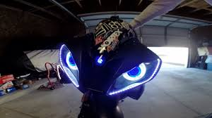 yamaha r6 halo lights 07 r6 halo projector headlight review from bkmoto youtube