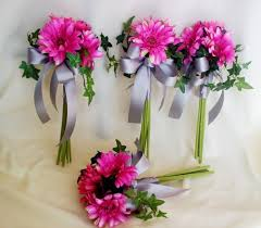 gerbera bouquet bridal bouquet hot pink silk gerberas made to order wedding