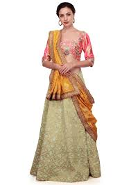 pista green and peach lehenga choli with weaved dupatta kalkifashion