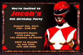 power rangers invitations general prints